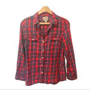 Colorful plaid button down shirt